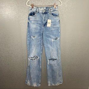 NWT Bershka The 90's Distressed High Rise Jeans